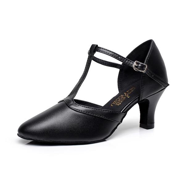 Femmes Vrai cuir Talons Salle de bal avec Lanière en T Boucle Chaussures de danse