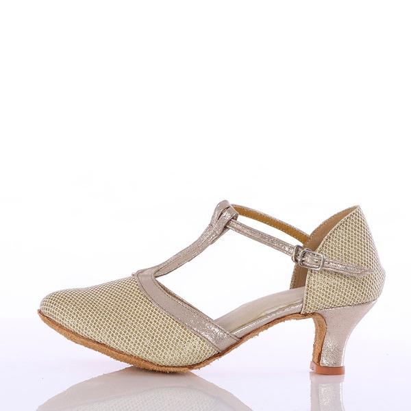 Женщины кожа Мерцающая отделка На каблуках Бальные танцы с Т-ремешок Обувь для танцев