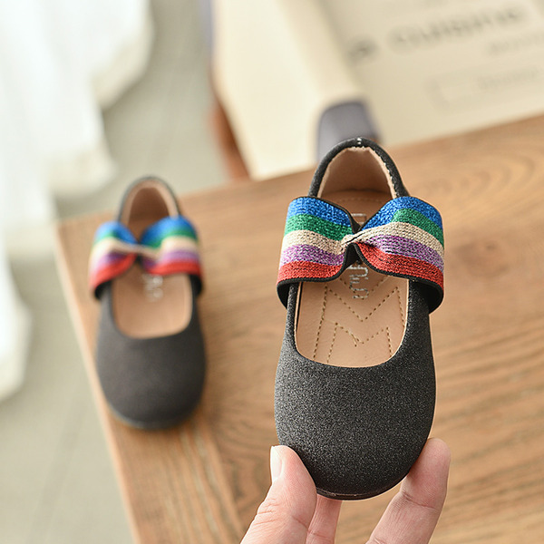 Jentas Round Toe Lukket Tå Sparkling Glitter flat Heel Flate sko Flower Girl Shoes med Elastisk bånd