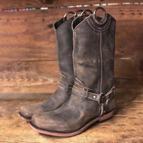 Kvinder Kunstlæder Lav Hæl Støvler med Spænde sko