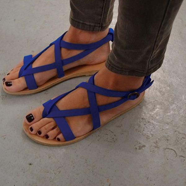 Naisten Mokkanahka Matalakorkoiset Heel Sandaalit Matalakorkoiset jossa Solki kengät