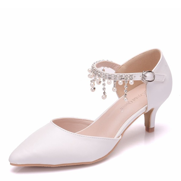 Vrouwen Kunstleer Low Heel Closed Toe Pumps Sandalen met Tassel Kristal Parel