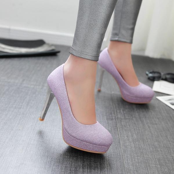 Женщины Мерцающая отделка Высокий тонкий каблук На каблуках Закрытый мыс обувь