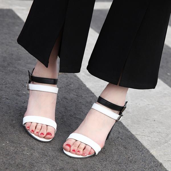 Kvinnor Konstläder Tjockt Häl Sandaler Pumps Peep Toe Mary Jane med Spänne skor