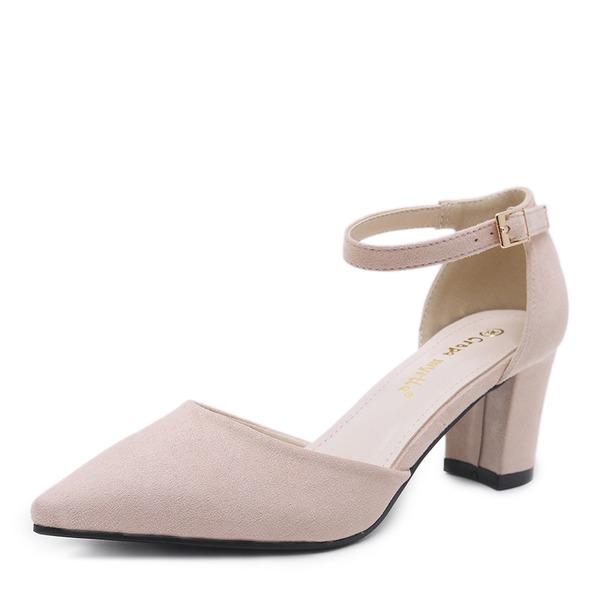 Frauen Veloursleder Stämmiger Absatz Sandalen Absatzschuhe Geschlossene Zehe mit Schnalle Schuhe