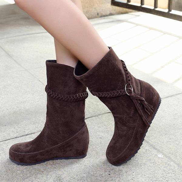 Женщины Замша Плоский каблук На плокой подошве Закрытый мыс Ботинки Сапоги до середины голени с Плетеный ремень обувь