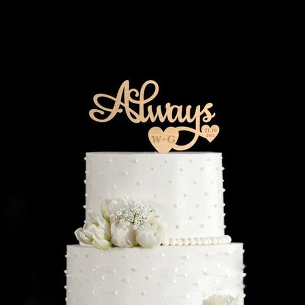 Personalizado Monograma Madeira Decorações de bolos