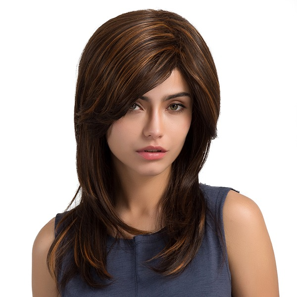 Straight Mid-Length Synthetic Wigs (Sold in a single piece)