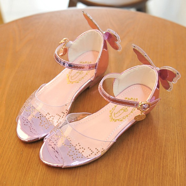 Girl's Peep Toe Leatherette Low Heel Sandals Flower Girl Shoes With Applique Crystal