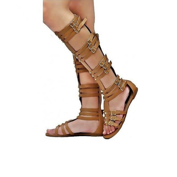 Women's PVC Flat Heel Sandals Flats Boots Peep Toe With Buckle shoes