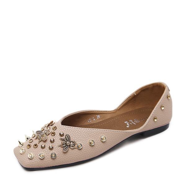 Women's PU Flat Heel Flats Closed Toe With Rivet shoes