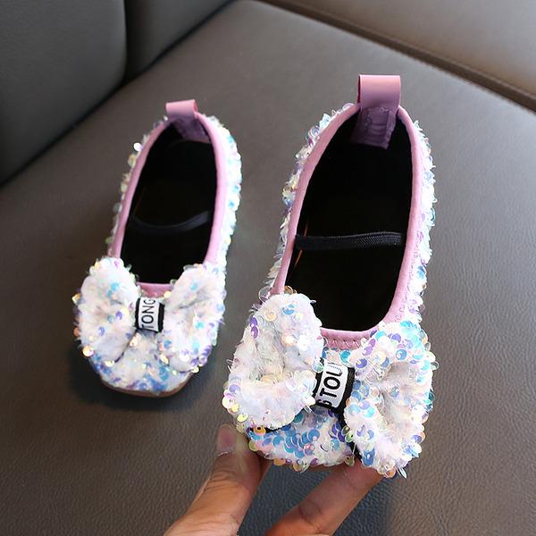 Fille de bout rond Glitter mousseux Chaussures plates avec Bowknot Paillette