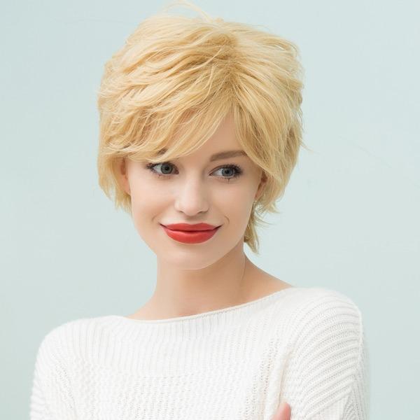 Gerade Pixie menschliche Haar Perücken