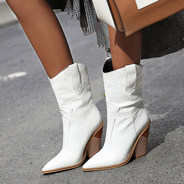 Women's PU Chunky Heel Boots Mid-Calf Boots shoes