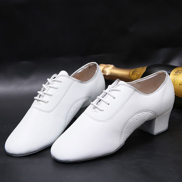 Unisex Real Leather Latin Ballroom Practice Character Shoes With Lace-up Dance Shoes