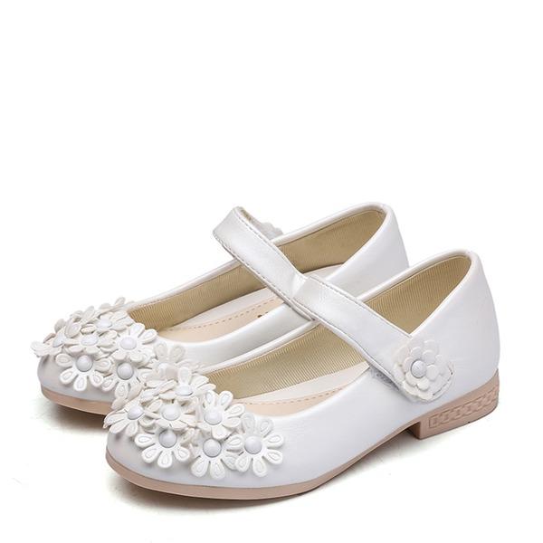 Fille de Bout fermé similicuir talon plat Chaussures plates Chaussures de fille de fleur avec Velcro Une fleur