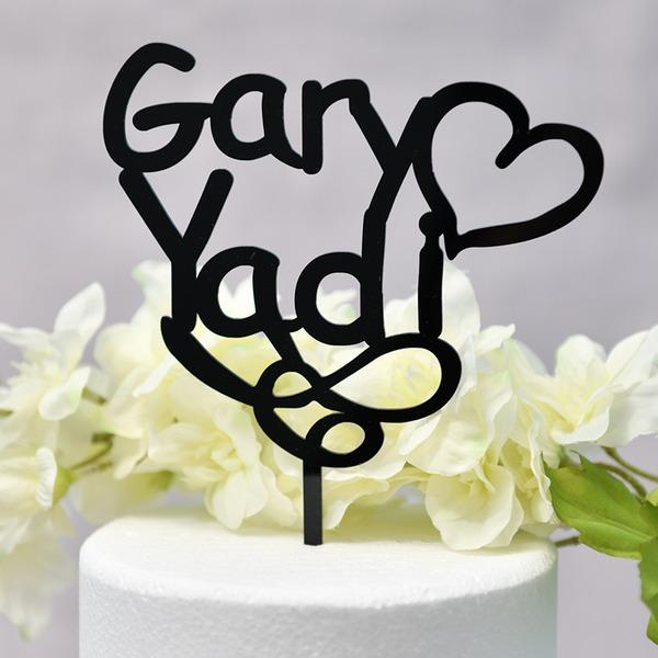 personnalisé Coeur/Mr & Mrs Acrylique Décoration pour gâteaux (Vendu dans une seule pièce)