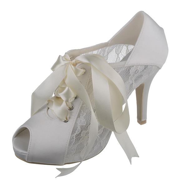 Kvinnor Spetsar Satäng Stilettklack Peep Toe Pumps Sandaler med Ribbon Tie