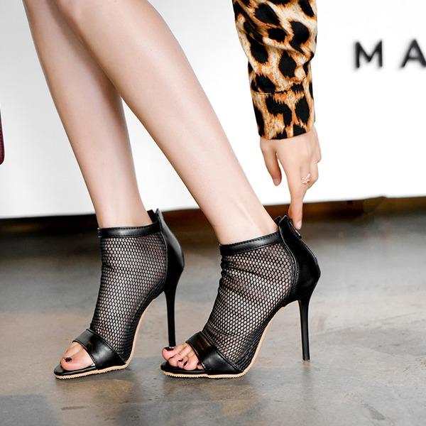 Женщины кожа Высокий тонкий каблук Сандалии На каблуках Открытый мыс с Застежка-молния обувь