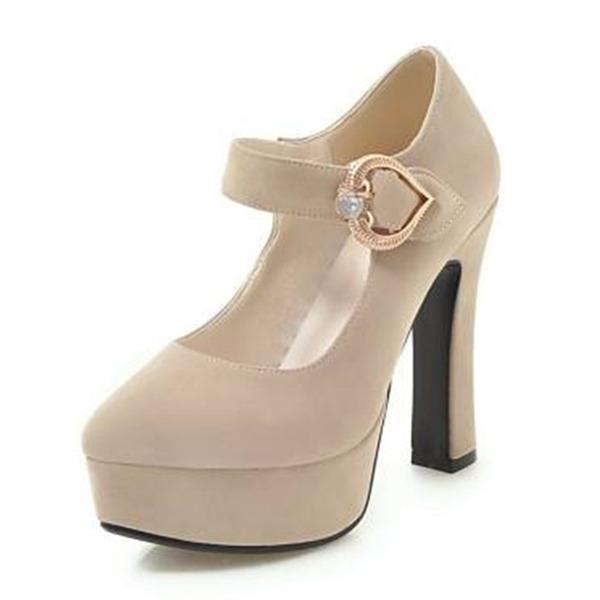Женщины бархат Устойчивый каблук На каблуках Платформа с Баттон обувь