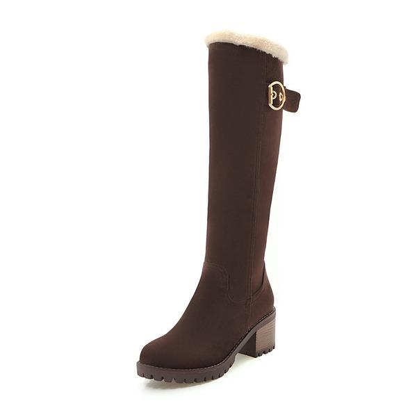 Женщины кожа Устойчивый каблук Ботинки Сапоги до колен с пряжка обувь
