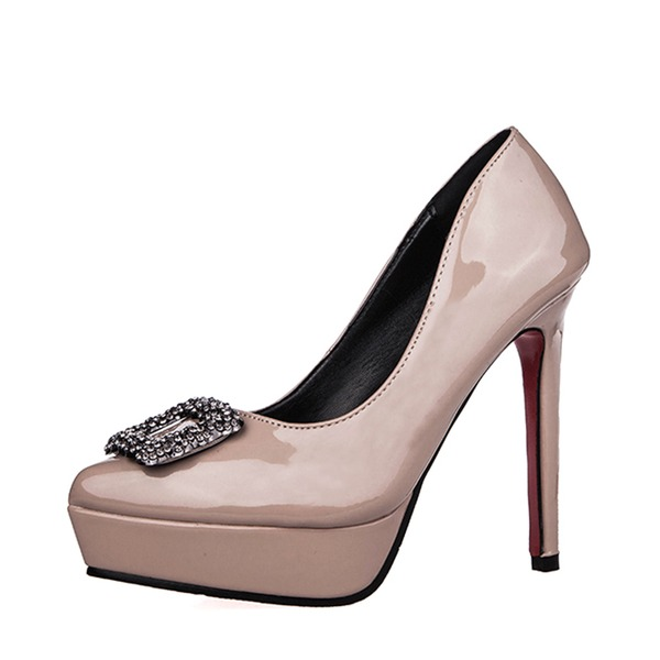 Women's Patent Leather Kitten Heel Pumps Platform Closed Toe With Buckle shoes