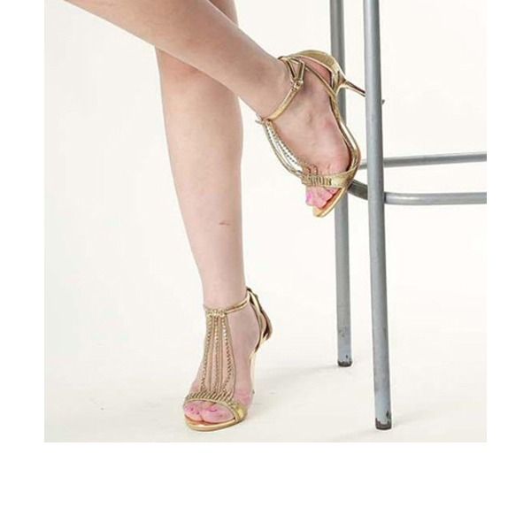 Women's Sparkling Glitter Stiletto Heel Sandals Peep Toe With Sparkling Glitter Lace-up Tassel shoes