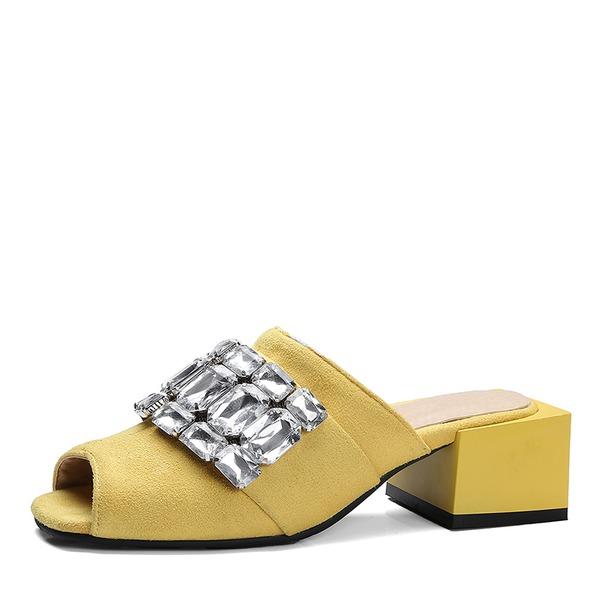 De mujer Ante Tacón ancho Sandalias Salón Encaje Solo correa con Rhinestone zapatos