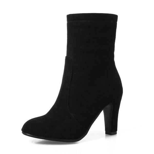 Kvinner Semsket Stiletto Hæl Pumps Lukket Tå Støvler Mid Leggen Støvler med Glidelås sko