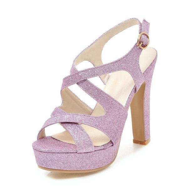Kadın Köpüklü Glitter Kalın Topuk Sandalet Pompalar Platform Peep Toe Arkası açık iskarpin Ile Toka ayakkabı