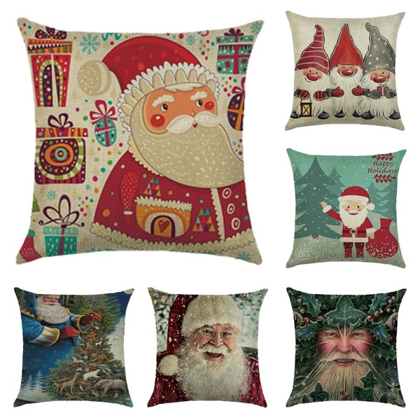 Casual Cartoon Polyester Christmas Pillowcases 45*45Cm Cushion Cover(Sold in a single piece)