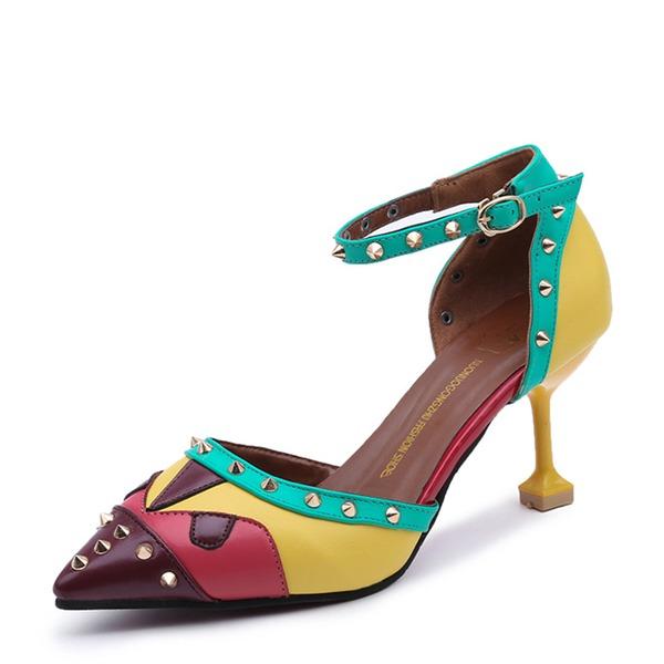 Frauen PU Stöckel Absatz Absatzschuhe Geschlossene Zehe mit Niete Schuhe