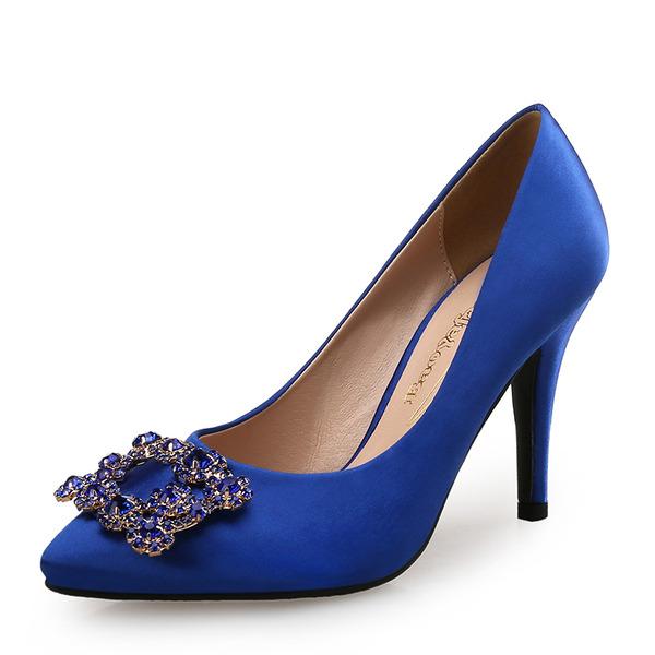 Femmes Soie comme du satin Talon stiletto Escarpins avec Cristal chaussures