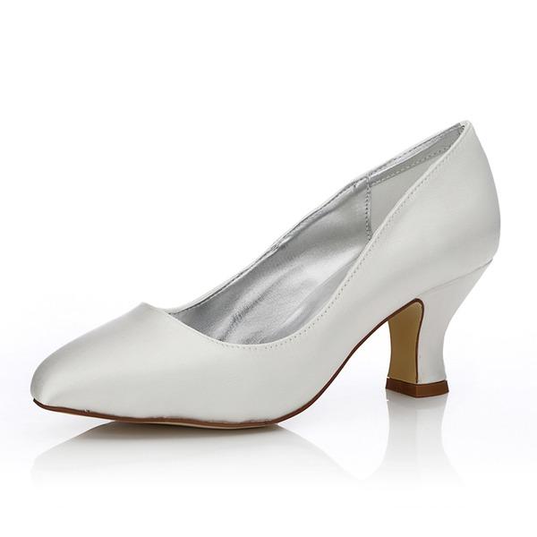 Kadın Saten Kalın Topuk Kapalı Toe Pompalar Boyanabilir ayakkabılar