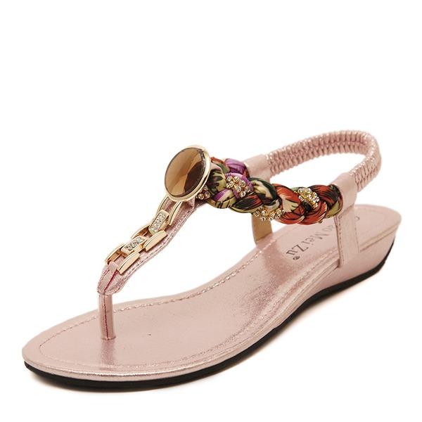 Donna PU Senza tacco Sandalo Ballerine con Strass scarpe