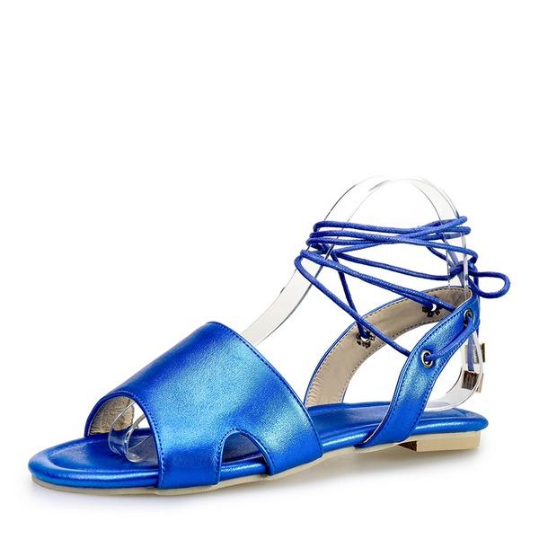 Kvinner PU Flat Hæl Sandaler Flate sko Titte Tå med Blondér sko