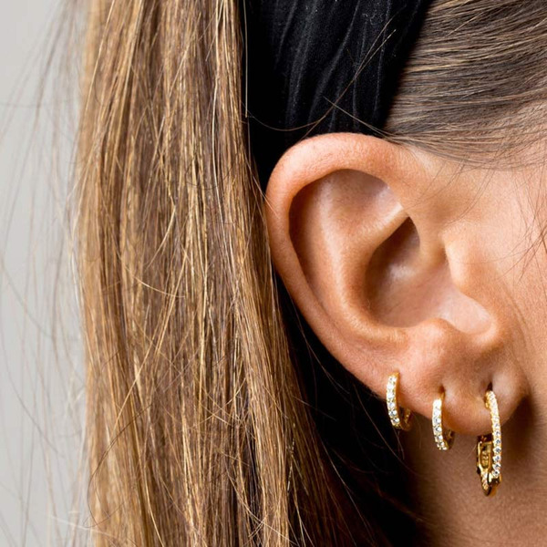 Ladies' Simple Copper/Zircon Earrings For Friends/For Her