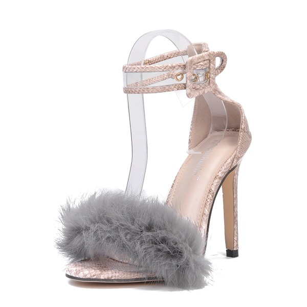 Frauen PU Stöckel Absatz Sandalen Absatzschuhe Peep Toe mit Schnalle Pelz Schuhe
