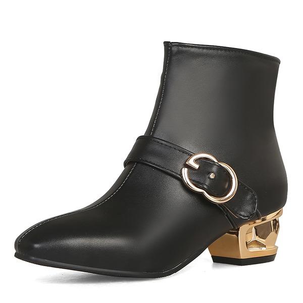 Mulheres Couro Salto robusto Botas Bota no tornozelo com Fivela sapatos