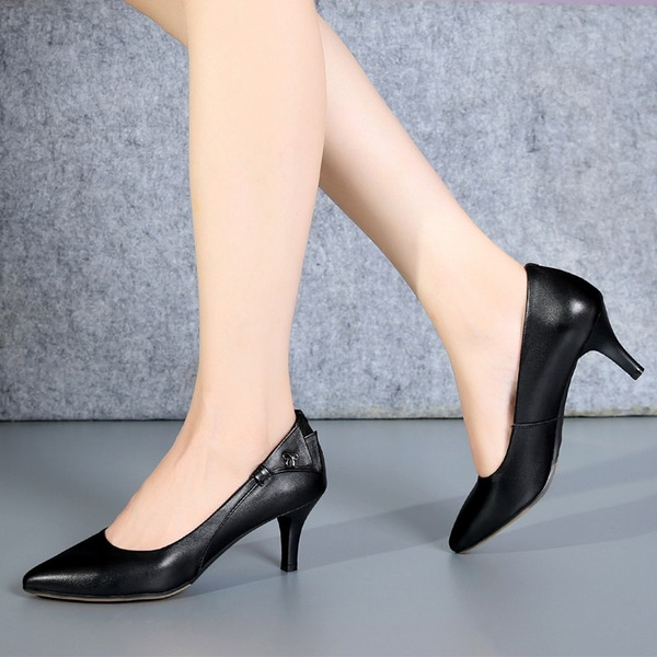 Women's Real Leather Kitten Heel Pumps With Ribbon Tie shoes