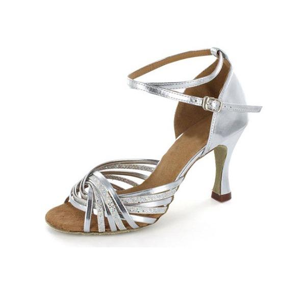 Kvinder Kunstlæder Mousserende Glitter Hæle sandaler Latin Dansesko