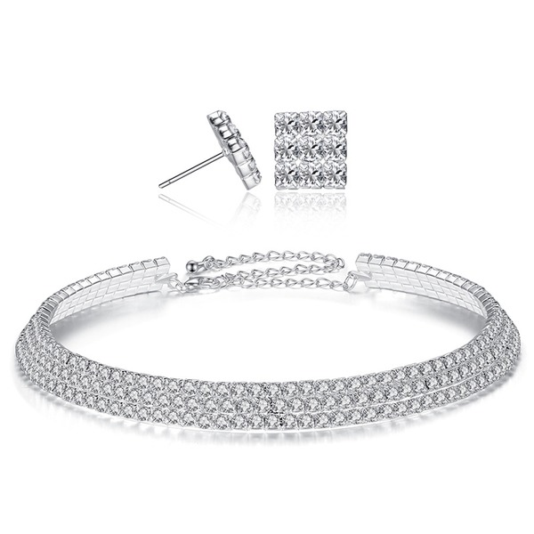 Brillante lega Strass con Strass Donna I monili (Set di 2)