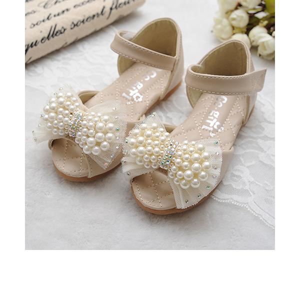 Jentas Titte Tå Leather flat Heel Sandaler Flate sko Flower Girl Shoes med Bowknot Imitert Perle Velcro