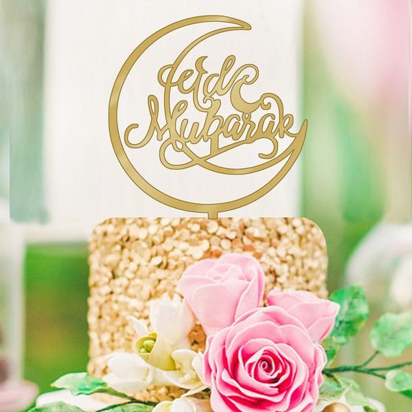 Muslim Islam Eid al-Fitr Classic Acrylic Cake Topper (Sold in a single piece)