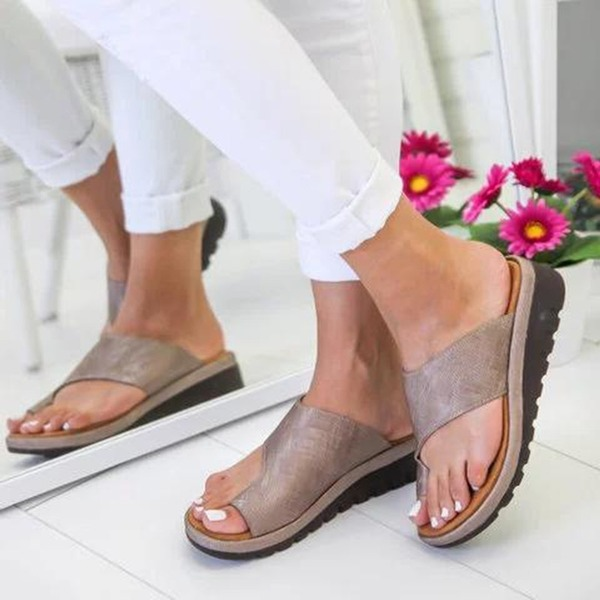 Vrouwen PU Flat Heel Sandalen Peep Toe schoenen
