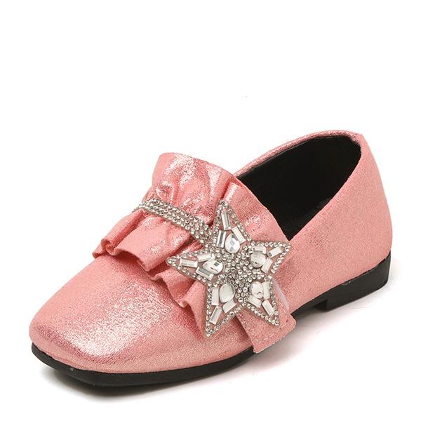 Mädchens Geschlossene Zehe Slipper & Slips Leder Flache Ferse Flache Schuhe Blumenmädchen Schuhe mit Strass Geraffte