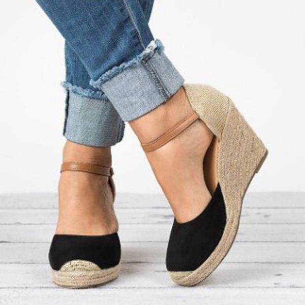 Frauen Samt Keil Absatz Sandalen Keile mit Zweiteiliger Stoff Schuhe