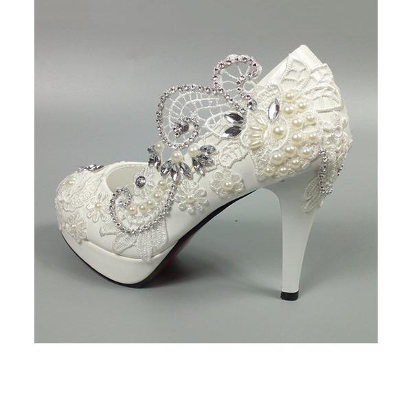 Vrouwen Patent Leather Cone Heel Pumps met Imitatie Parel Strass Stitching Lace Bloem