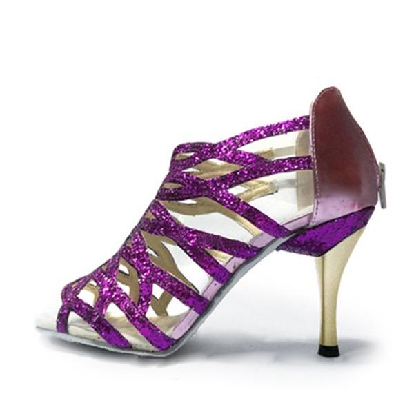 Femmes Similicuir Talons Sandales Latin avec Lanière de cheville Ouvertes Chaussures de danse