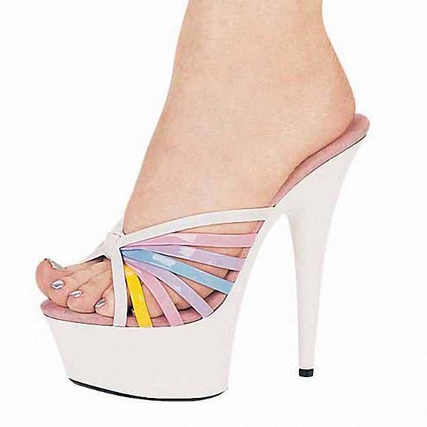 Femmes Cuir verni Talon stiletto Sandales Escarpins Plateforme À bout ouvert Escarpins chaussures